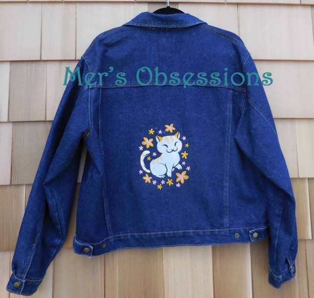 Women's Denim Jacket with Embroidered Asian Cat