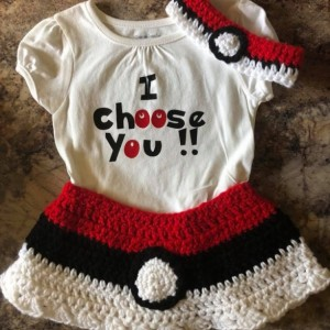 Pokemon I Choose You Crocheted skirt and headband size 18 mo