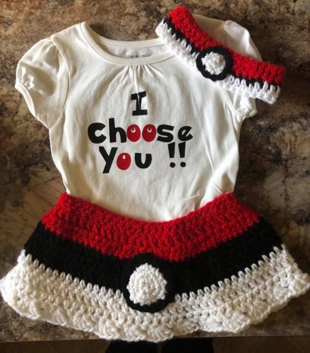 Pokemon I Choose You Crocheted skirt and headband size 18 mo