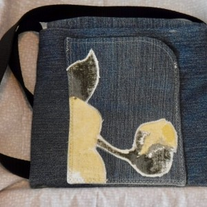 Moonrise over the Mountains shoulder bag made from up cycled denim