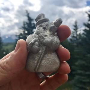 Snowman pewter figurine, hand cast