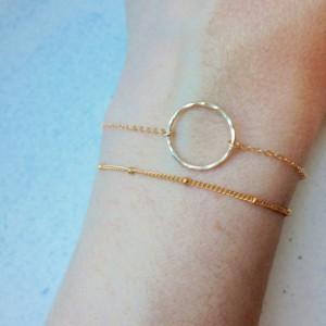 gold circle bracelet, gold hammered circle bracelet, 14k gold circle bracelet, gold karma bracelet, simple gold circle bracelet,