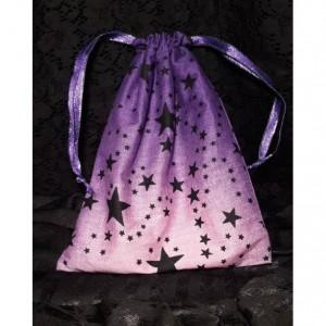 Reusable Gift Bag, Handmade Drawstring Bag, Hand sewn Pouch, Purple Bag, Jewelry Bag, Travel Pouch, Stars Bag, Handmade Make Up Bag / Pouch