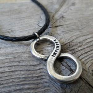 Men's Necklace - Men's Infinity Necklace - Men's Leather Necklace - Men's Jewelry - Men's Gift - Husband Gift - Boyfriend Gift - Male