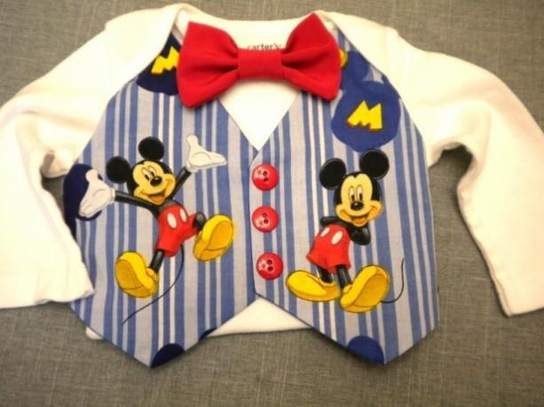 Baby Onesie  Mickey Mouse Vest & Bow Tie