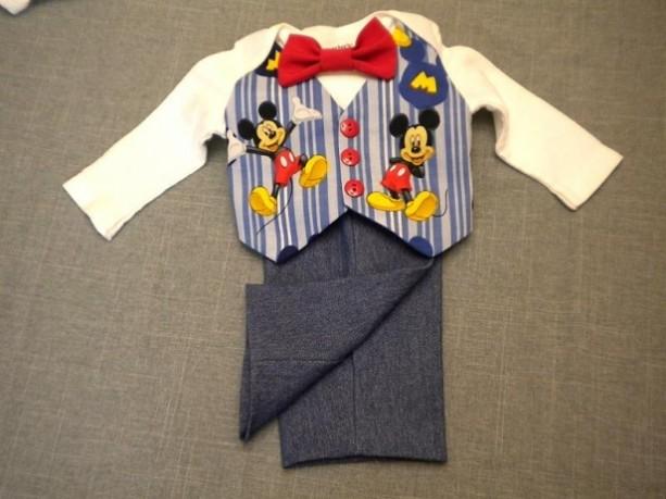 Baby Vest Bow Tie Pants Mickey Mouse - denim pants