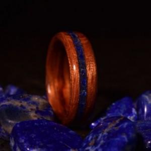 Ready to ship size 7.5 ( Bentwood Method ) Bubinga Waterfall Inlayed offset Lapis stone Wooden Ring