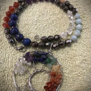 Seven Chakras Tree of Life handmade beaded necklace