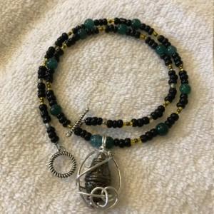 "Caged Elegance handmade beaded necklace 18"" long"