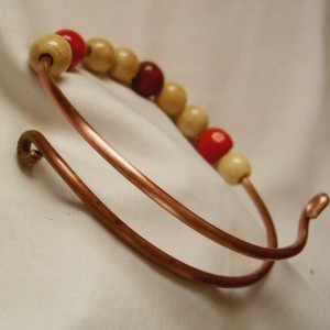 Copper Bangle Bracelet With Wooden Beads in Assorted Colors
