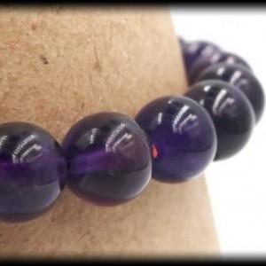 Amethyst Solid Gemstone Stretch Bracelet for Spiritual Cleansing