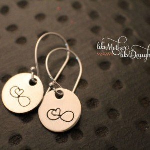 Hand Stamped Earrings - Heart Infinity Earrings - Jewelry - Sterling Silver Dangle Earrings - Infinity Heart Valentine's Day