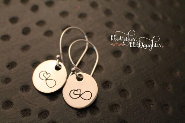 Hand Stamped Earrings - Heart Infinity Earrings - Jewelry - Sterling Silver Dangle Earrings - Infinity Heart Valentine's Day