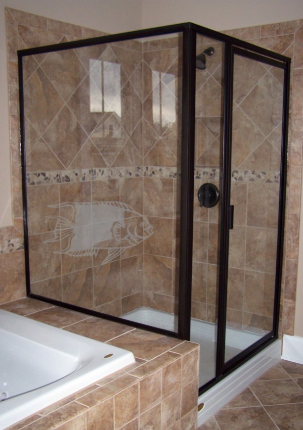 Sliding Tropical Fish Design One Coastal Series Etched Decal Shower Doors