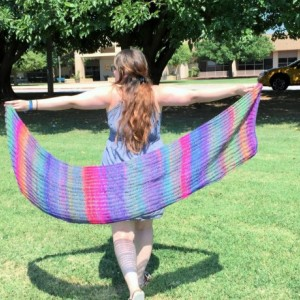 Purple Rainbow Handknit Shawl