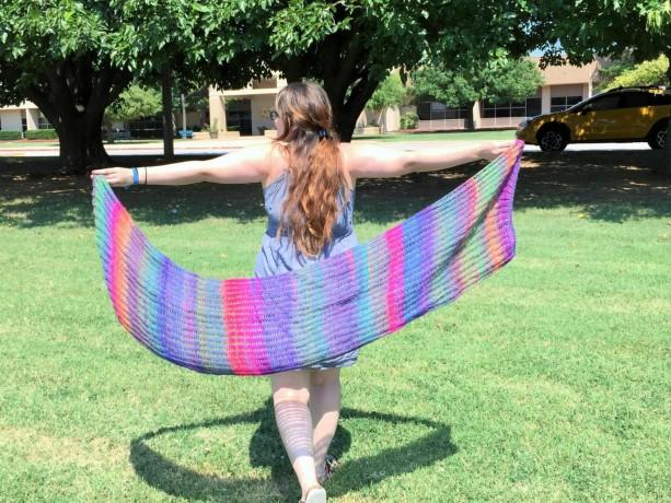 Purple Rainbow Handknit Shawl