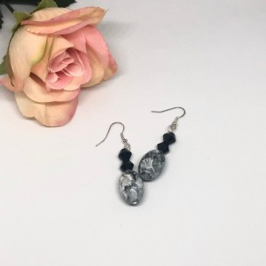 Black/Gray Dangle Earrings