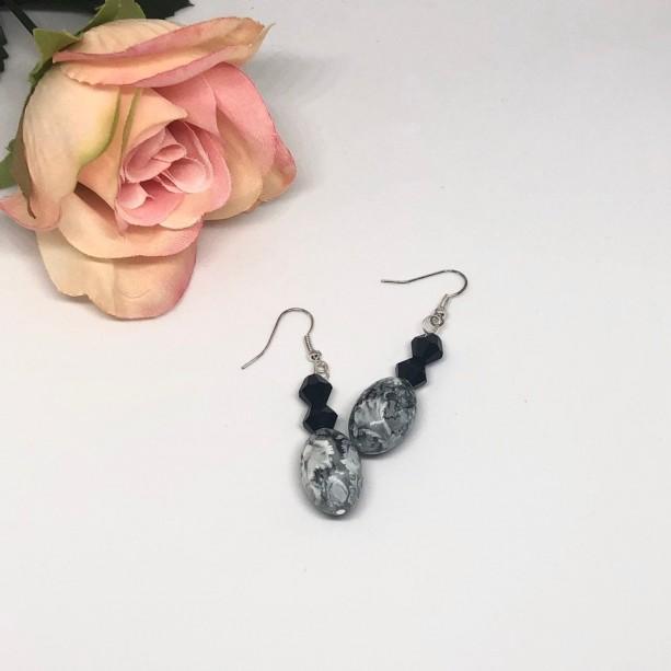 Black/Gray Dangle Earrings
