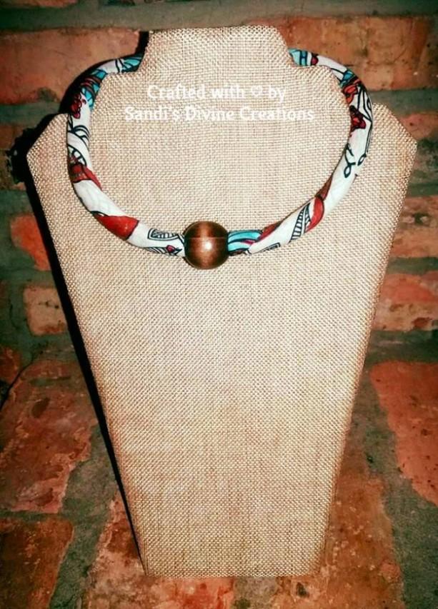 African Print Beaded Ankara Tribal Necklace, Ankara Beaded Fabric Rope Necklace, Ankara Beaded Tribal Necklace, Beaded Ankara Rope Necklace