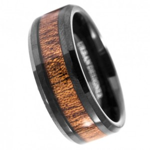 8mm Mens Tungsten Band with Koa Wood Inlay Black Tungsten Ring