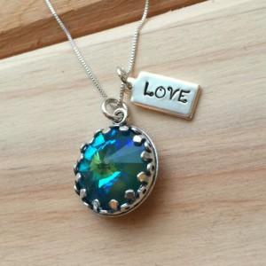 Swarovski Crystal and Sterling Silver Custom Stamped Necklace