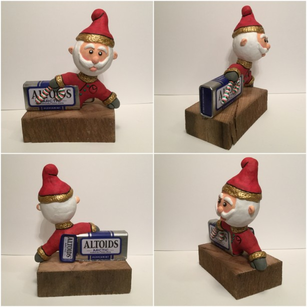 Christmas Santa wood and clay figurine