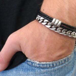 Men's Bracelet Set - Men's Leather Bracelet - Men's Silver Bracelet - Men's Cuff Bracelet - Men's Jewelry - Men's Gift - Present For Men