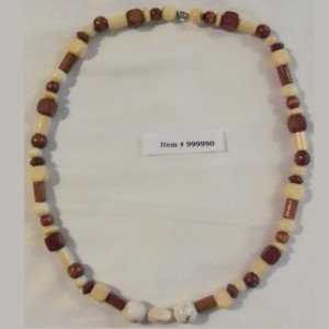 Handcrafted Unique Wood/Magnesite Beaded Necklace #999990
