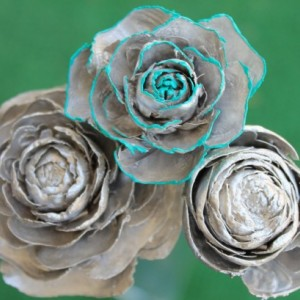 Silver Hand-Painted Cedar Rose Pine Cone Flower
