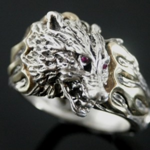 wolf ring sterling silver