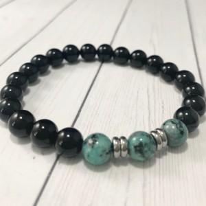 The Hunter | handmade beaded stretch bracelet, mint green sesame jasper, onyx agate beads, stainless steel, men's / unisex, Gifts for Him