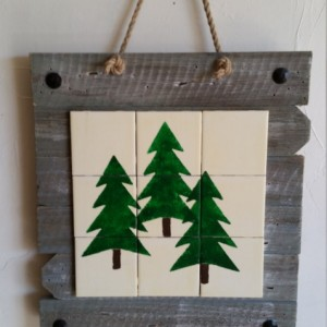 Rustic, handmade evergreen tree wall hanging