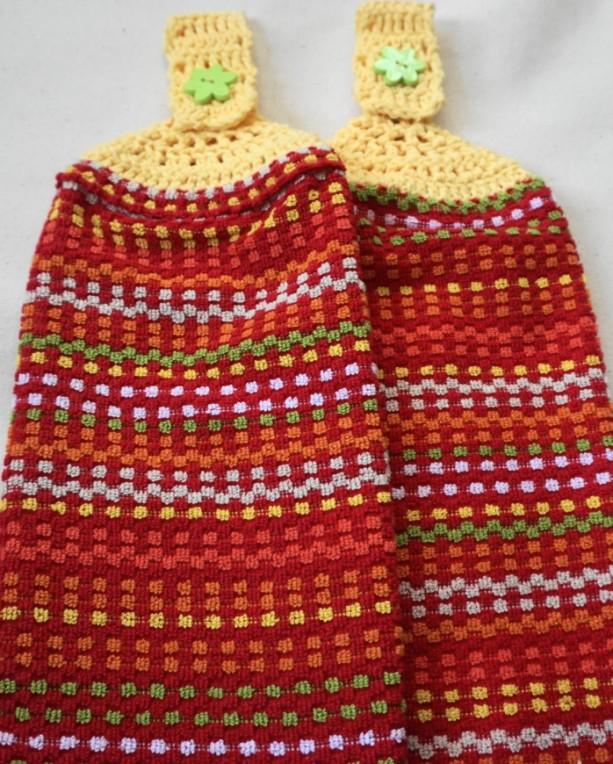 Poppy Field Crochet Top Kitchen Towel, Set of 2
