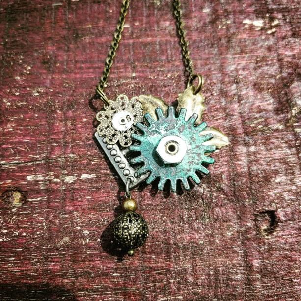 Steampunk Industrial Neo-Victorian Repurposed Handmade Ooak Filigree Lace Oxidized Green Gear Necklace