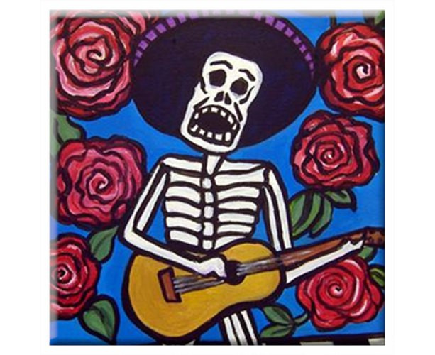 Mexican Folk Art - Day of the Dead - SKELETON W/GUITAR - TILE Signed By Artist A.V.Apostle