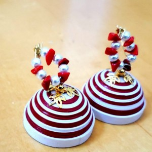 Red and White Dome Earrings