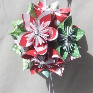 Large Joyful Origami Christmas Tree Ornament, Christmas Ball, Origmai Ornament, Christmas Decor, Flower Ball, Kusudama Ornament, Fan Pull