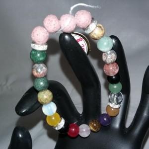 Mind & Life Crystals w/Lava Stone Diffuser Bracelet