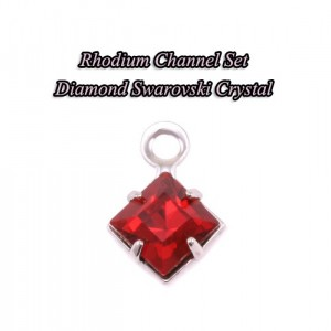 """""""Papers"""" Chiyogami 075 Silver Square Pendant"""