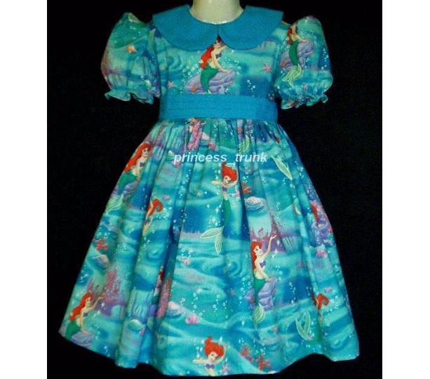 NEW Handmade Disney Ariel Little Mermaid Underneath the Sea Deluxe Dress Custom Sz 12M-14Yrs