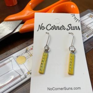 Teacher Earrings, Yellow ruler - Free Shipping