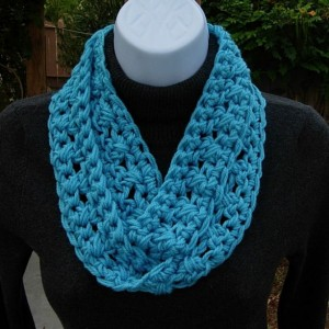 SUMMER SCARF Infinity Loop Solid Turquoise Blue, Soft Lightweight Small Skinny Cowl, Crocheted Necklace, Neck Tie..Ready to Ship in 2 Days