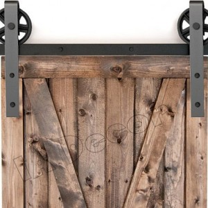 Barn Door Hardware Spoked Wheel With 77 Inch Rail