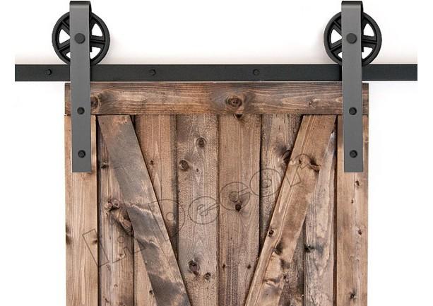 Barn Door Hardware Spoked Wheel With 77 Inch Rail