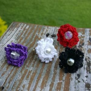 Flower Ring - Statement Ring - Red - Crochet - Christmas