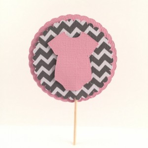 Pink & Gray Chevron Onesie Cupcake Topper - Set of 12