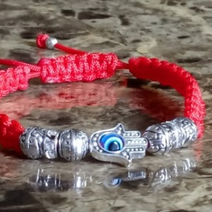 Hamsa Hand Evil Eye Knotted String Bracelet, Unisex Adjustable Cord, Red Blue Green String Evil Eye For Protection, Good Luck and Healing