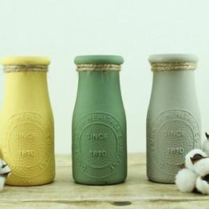 Vintage Dairy Bottles Set of 3- Milk Bottle Vases - Fall Decor -Vintage Vase - Farmhouse Decor - Tabletop Decor - Centerpiece - Fall Colors