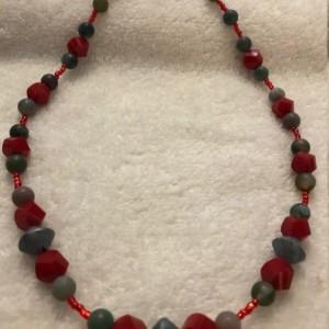 "Scarlet & Grey handmade beaded necklace 20"" long"