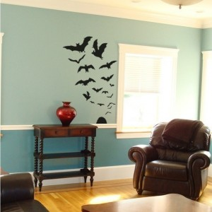 Swarm of 17 Bats Wall Decals